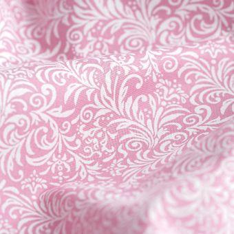 Tissu popeline coton feuillage rose