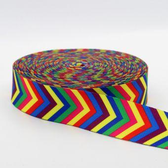 Ruban sangle 38 mm imprimé flèche multicolore