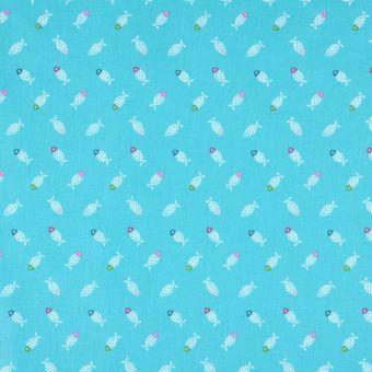 Tissu cretonne petits poissons bleu