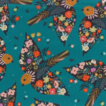 Tissu popeline de coton vert canard imprimé moineaux fleuris Dashwood Studio
