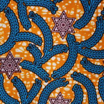 Tissu wax orange étoiles et branches - Karabashop