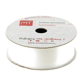 Bobine ruban satin blanc 20 mm