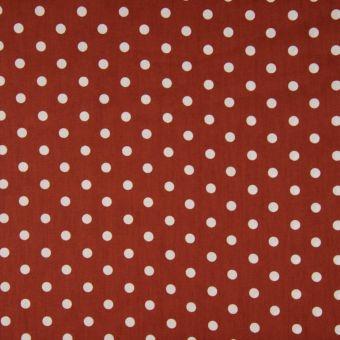 Tissu popeline coton à motifs pois terracotta