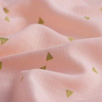 Tissu lange rose triangles dorés