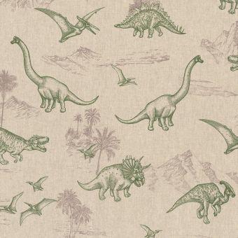 Tissu bachette dinosaures vert