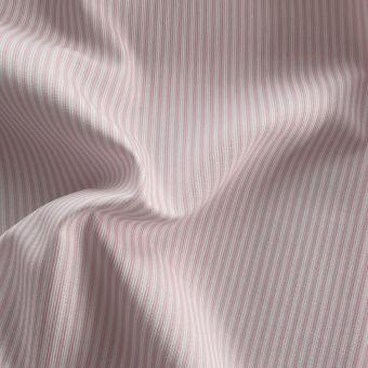 Tissu piqué de coton motifs rayures rose