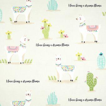 Tissu coton épais lamas et cactus