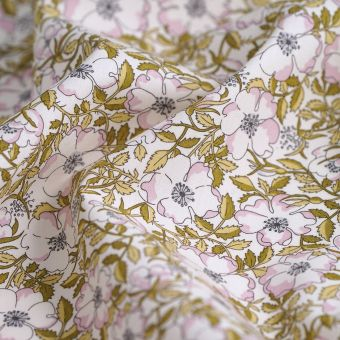 Tissu popeline Liberty May morris fleurs roses