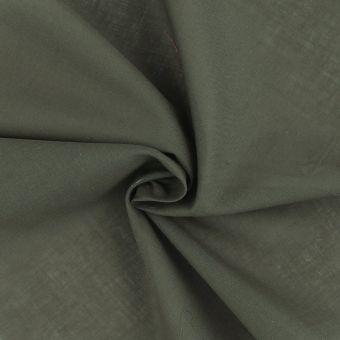 Tissu voile de coton uni kaki foncé