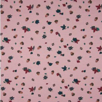Tissu jersey de coton à motifs noisettes et forêt - rose