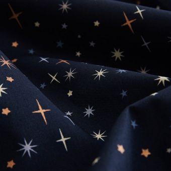Tissu cretonne nuit étoiles bleu