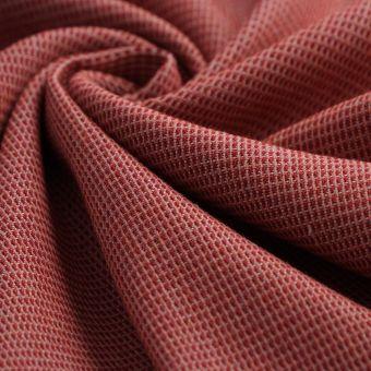 Tissu double natté lainage rouge