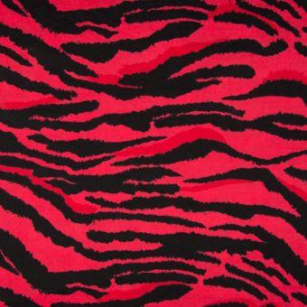 Maille viscose motif zébré rouge et noir