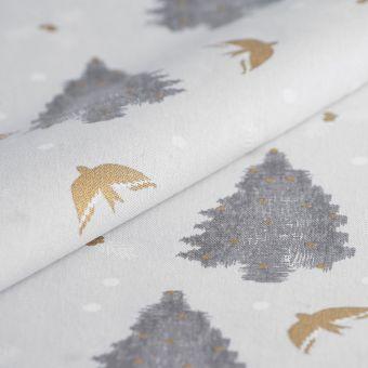 Tissu de Noël bachette sapin gris