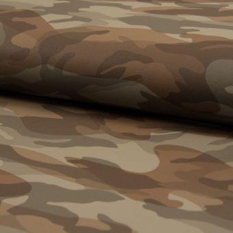 Tissu simili cuir coton imprimé camouflage taupe