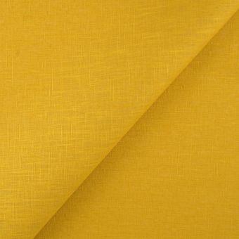 Tissu lin lavé enduit Livi jaune safran