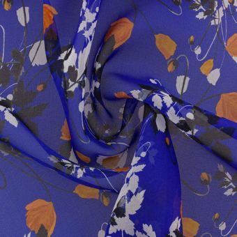 Tissu Liberty soie bleu fleurs