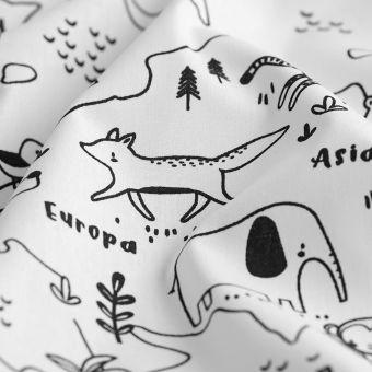 Tissu à colorier cretonne carte du monde animaux