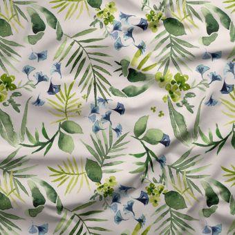 Tissu triple gaze coton bio vert bleu ginkgo - La Panda Love Fabrics