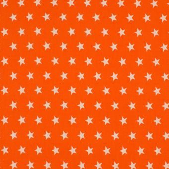 Tissu popeline de coton étoiles orange