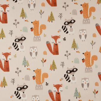 Tissu coton écru animaux