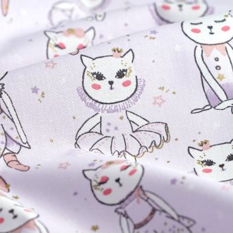 Tissu coton violet chats