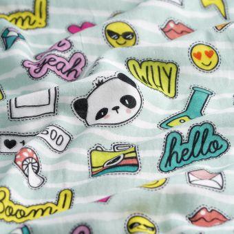 Tissu triple gaze coton bio mini patch multicolore - Panda Love