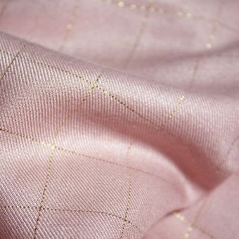 Tissu sergé de viscose carreaux rose perle lurex cuivré - Eglantine et Zoé