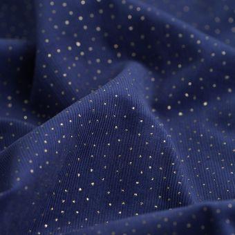 Tissu velours coton brillant indigo