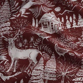 Tissu toile de ramie forêt rouge