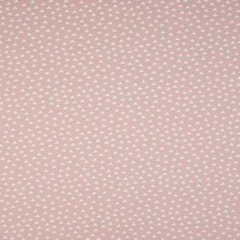 Tissu jersey de coton motifs mini triangles rose poudré