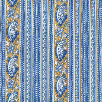 Tissu provençal percale bandes Bonis bleu jaune