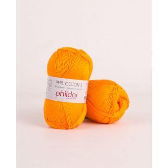 Pelote de coton à tricoter Phildar 3 mandarine