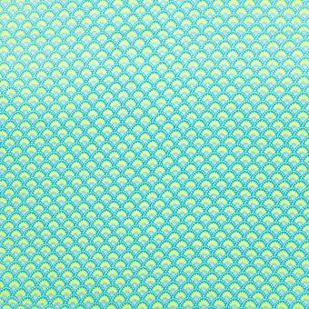 Popeline de coton Petit Pan wasabi turquoise et jaune à motifs éventails japonisant