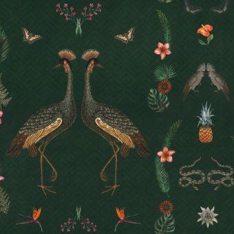 Tissu velours grues et fleuri vert
