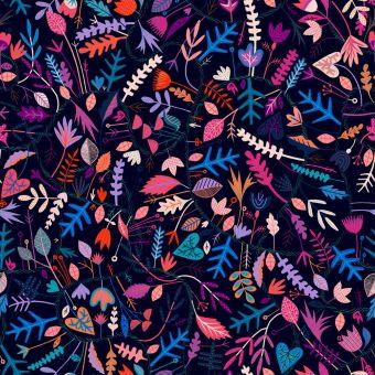 Tissu popeline de viscose Dashwood motifs fleurs fantaisies noir