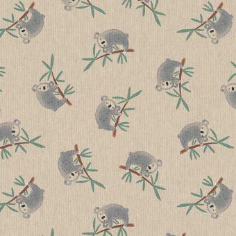 Tissu bachette effet lin motifs koalas sur branches