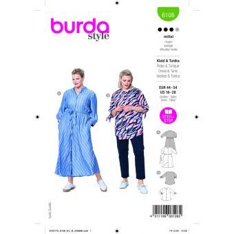 Patron Burda 6108 robe du 44 au 54