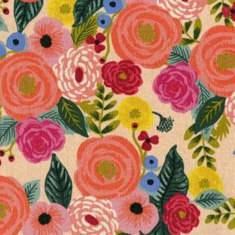 Tissu toile mélangée coton/lin saumon imprimé grosses fleurs - Rifle Paper
