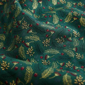 Tissu de Noël coton vert baies feuilles dorées