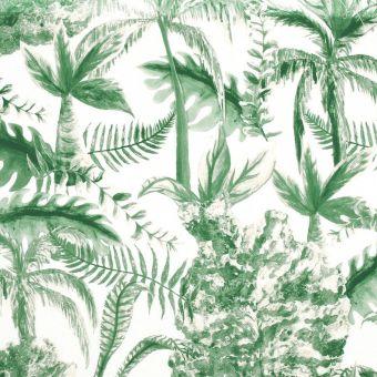 Tissu coton épais palmier vert