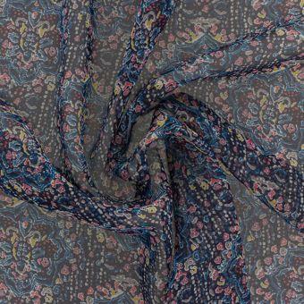 Tissu Liberty soie satin bleu