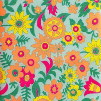 """Tissu Petit Pan coton enduit brillant """"Hippie"""" azur"""