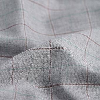Tissu gabardine coton polyester recyclé carreaux gris