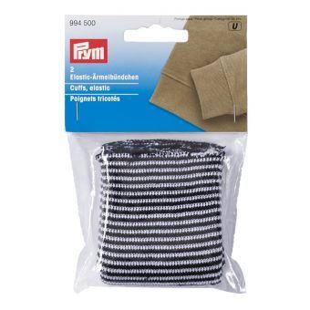 Poignets tricotés avec de petites rayures