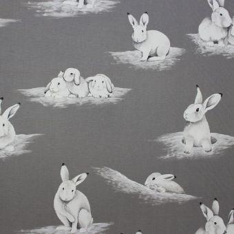 Tissu coton imprimé Lapinoux gris