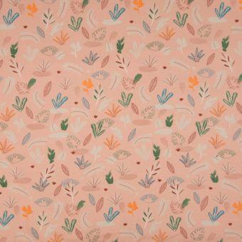Tissu jersey coton rose animaux de la jungle