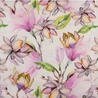 Tissu 100% lin impression digitale fleurie - rose