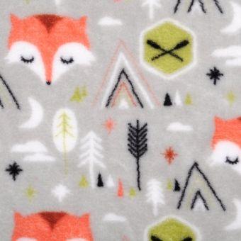 Tissu polaire imprimé renard orange
