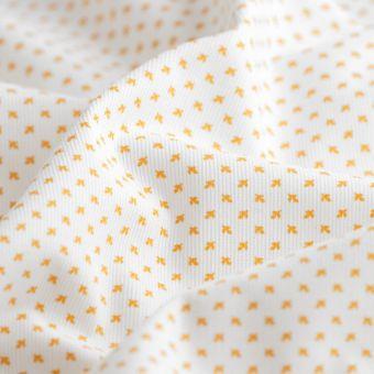 Tissu velours coton mini feuille écru